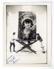 Main Image Courtesy of Jeffie Pike Durham: Marion and Coco pose together with 'Coco Chanel – Big Head' painted by Marion, 1967. Photographer unknown.