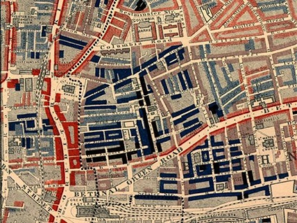 Main image credit: Charles Booth, 'Descriptive Map of East End Poverty' in Life and Labour of the People in London. Volume 1: East London (London: Macmillan, 1889)